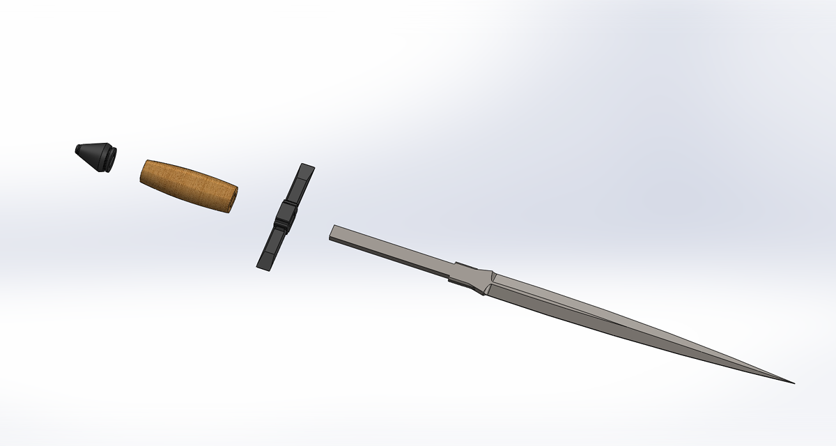 A short sword (1H) created on SolidWorks (engineering school project).